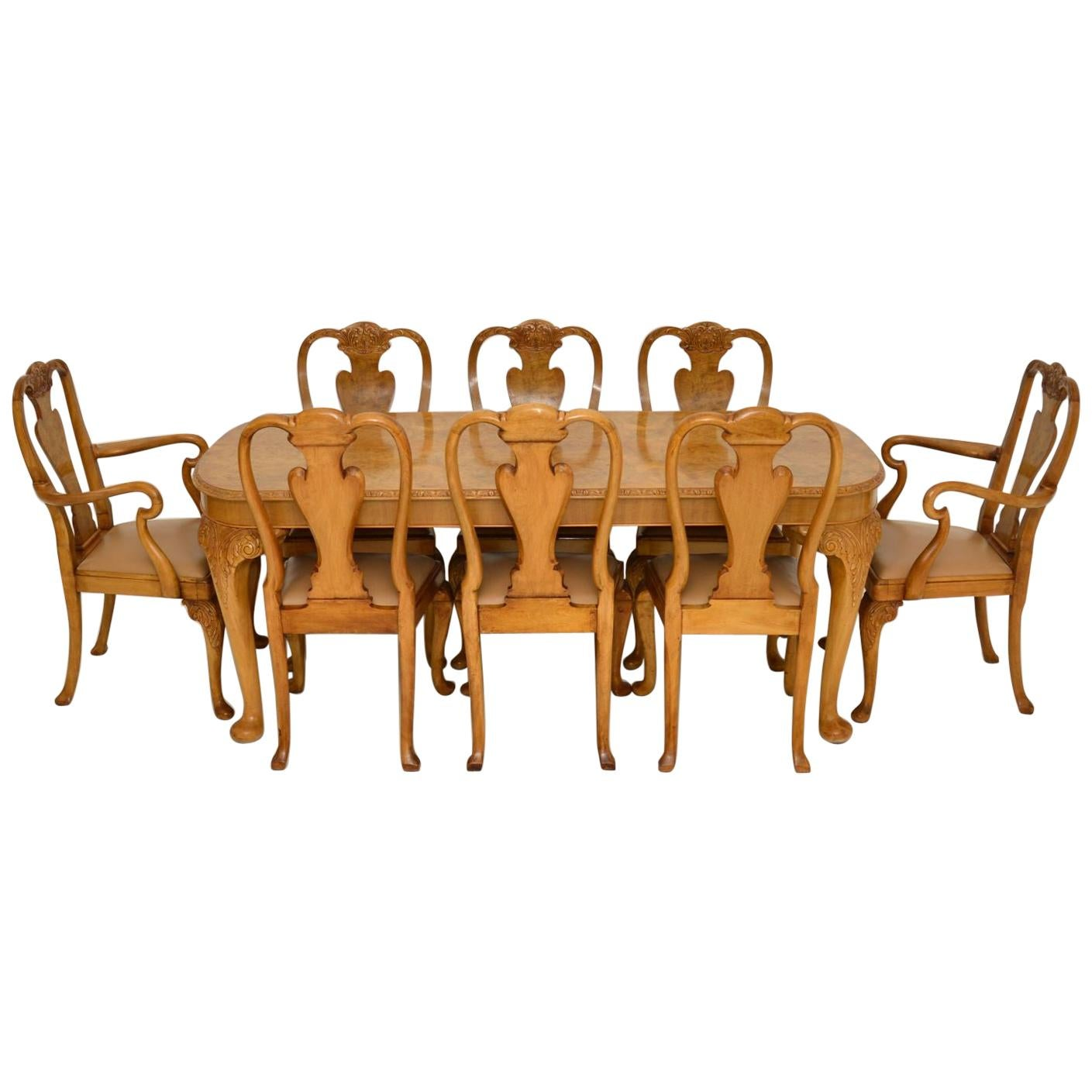 Antique Burr Walnut Dining Table & Chairs by Epstein