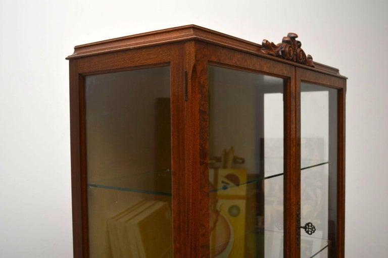 Antique Burr Walnut Display Cabinet For Sale 4