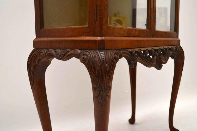 Antique Burr Walnut Display Cabinet For Sale 5