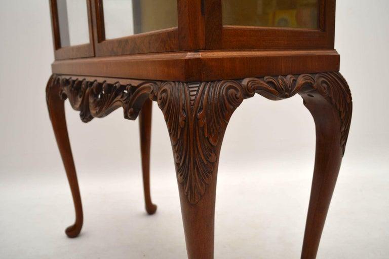 Antique Burr Walnut Display Cabinet For Sale 6