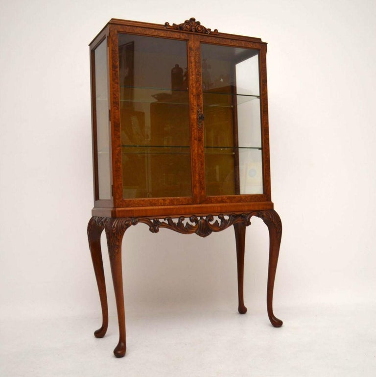 Antique Burr Walnut Display Cabinet For Sale 7