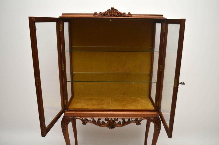 Queen Anne Antique Burr Walnut Display Cabinet For Sale
