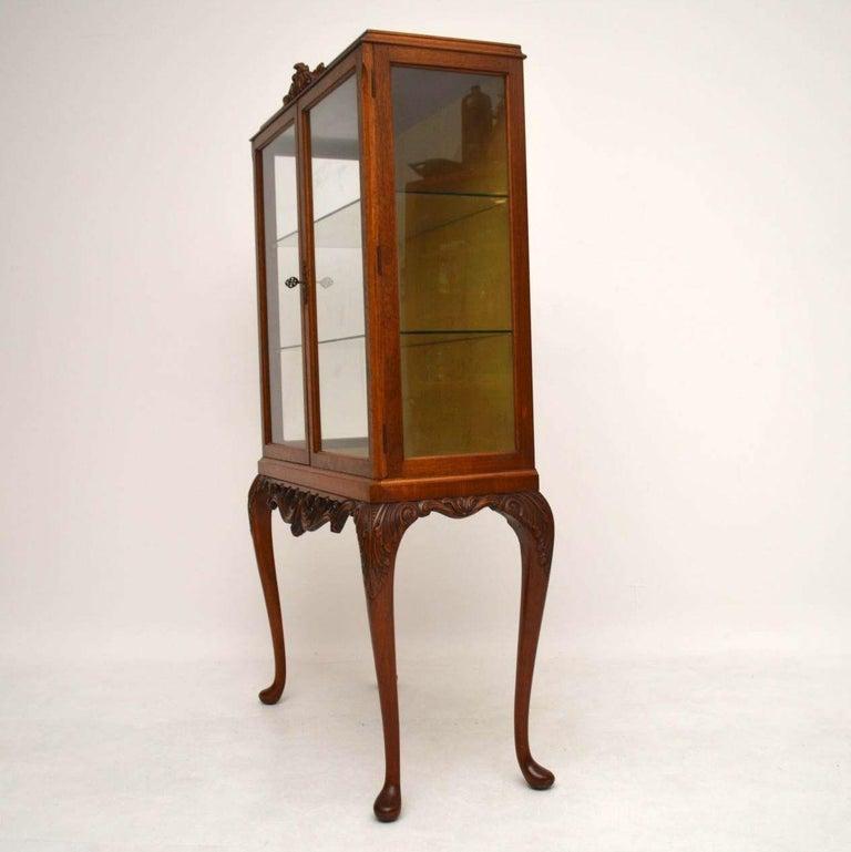 British Antique Burr Walnut Display Cabinet For Sale