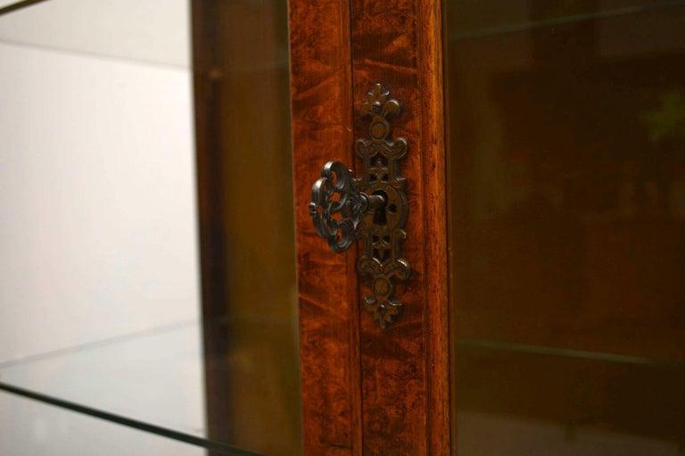 Antique Burr Walnut Display Cabinet For Sale 3