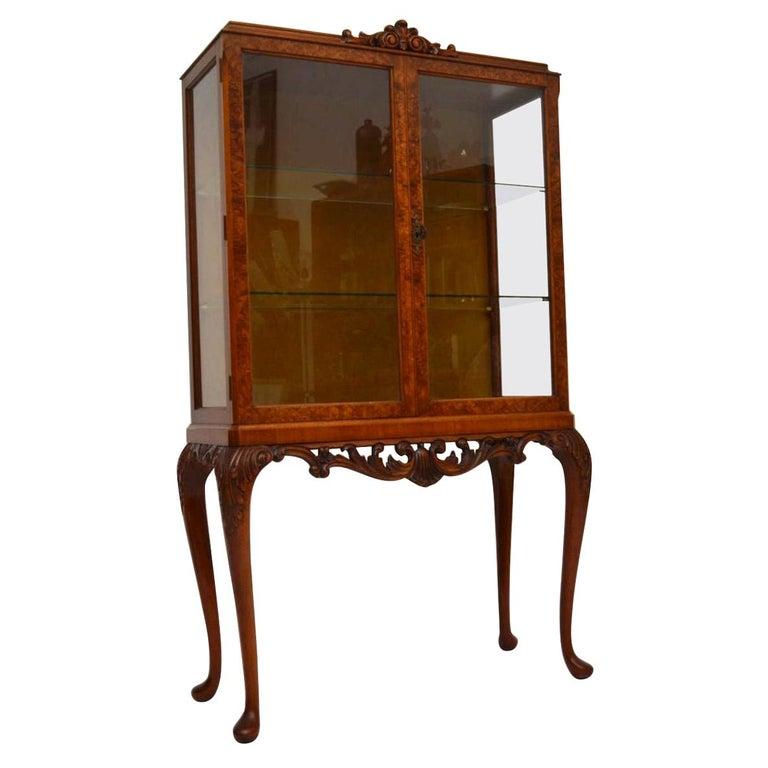Antique Burr Walnut Display Cabinet For Sale