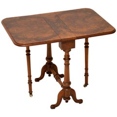 Antique Burr Walnut Drop-Leaf Side Table