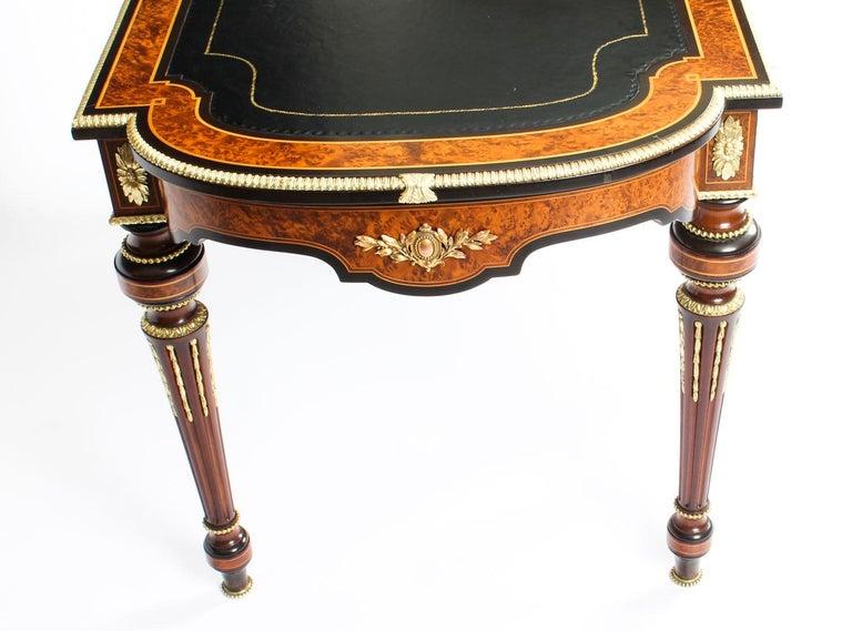 Antique Burr Walnut and Ebonized Ormolu Mounted Writing Table Desk, 19th Century For Sale 4