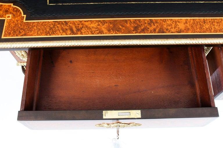 Antique Burr Walnut and Ebonized Ormolu Mounted Writing Table Desk, 19th Century For Sale 8