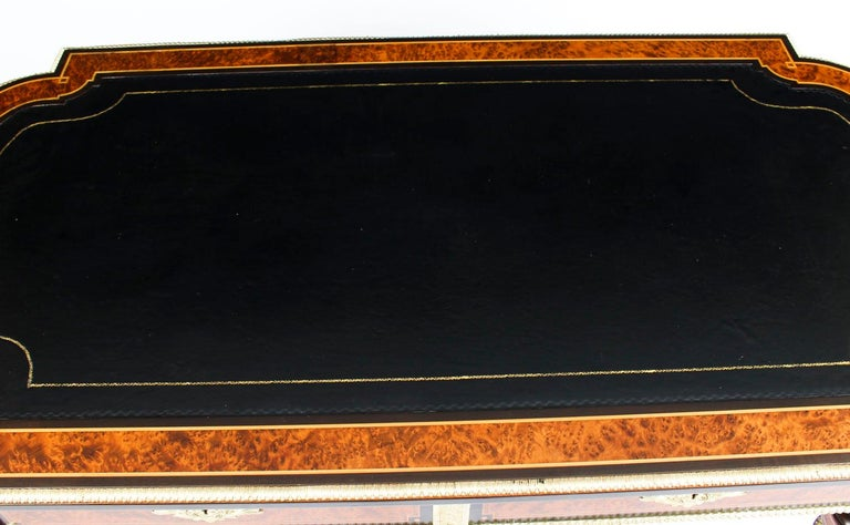 Late 19th Century Antique Burr Walnut and Ebonized Ormolu Mounted Writing Table Desk, 19th Century For Sale
