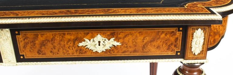 Leather Antique Burr Walnut and Ebonized Ormolu Mounted Writing Table Desk, 19th Century For Sale