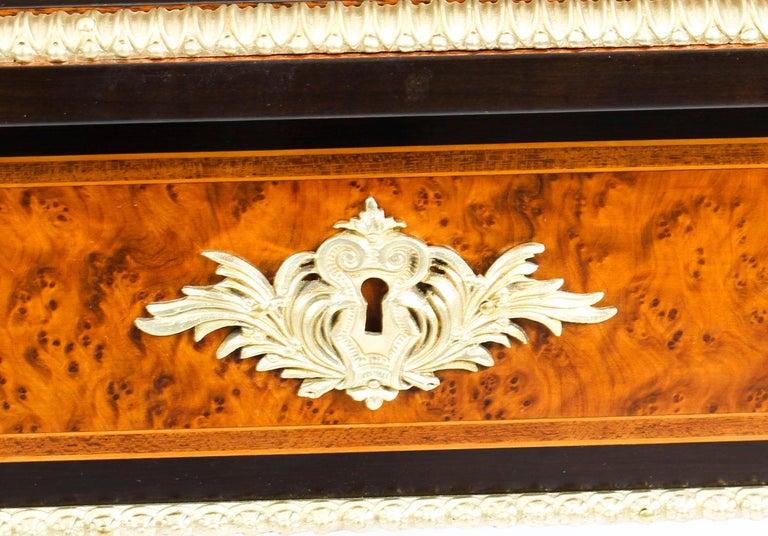 Antique Burr Walnut and Ebonized Ormolu Mounted Writing Table Desk, 19th Century For Sale 1
