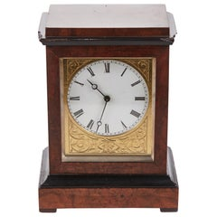 Antique Burr Walnut Ebonized Cased Desk Clock from Baldwin of Loughborough