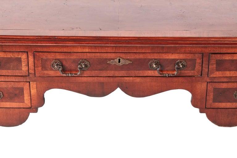 Antique Burr Walnut Freestanding Writing Desk 4
