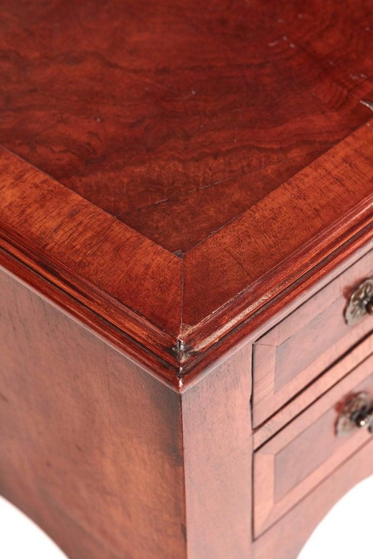 Antique Burr Walnut Freestanding Writing Desk In Excellent Condition In Stutton, GB