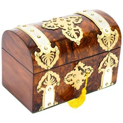 Antique Burr Walnut, Ivorine and Brass Box Casket with Key, 19th Century