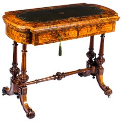 Antique Burr Walnut & Marquetry Combination Writing & Card Table, 19th Century