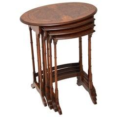 Antique Burr Walnut Nest of Four Tables