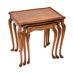 Antique Burr Walnut Nest of Three Tables