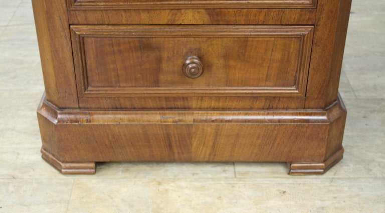 Antique Burr Walnut Nightstand with Gray Marble Top For Sale 5