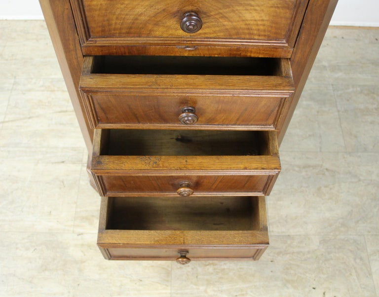 Antique Burr Walnut Nightstand with Gray Marble Top For Sale 6