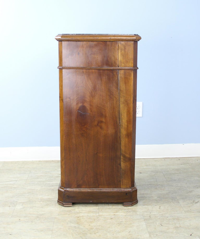 Antique Burr Walnut Nightstand with Gray Marble Top For Sale 8