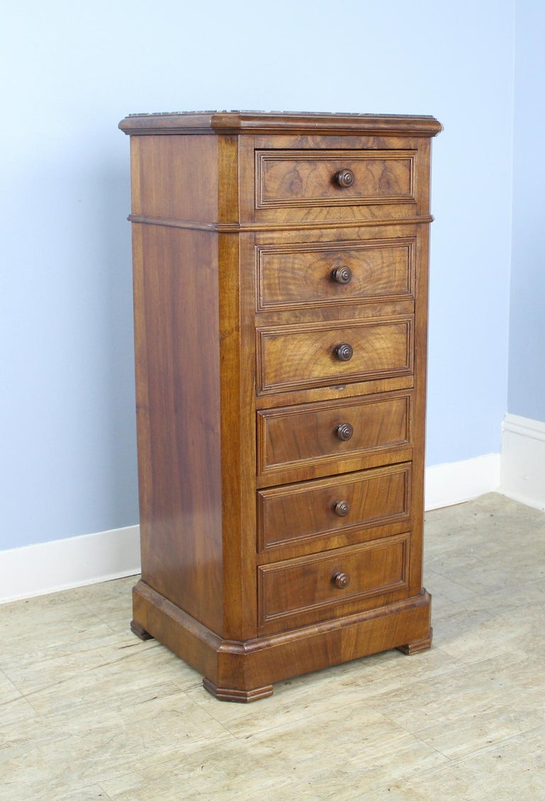 French Antique Burr Walnut Nightstand with Gray Marble Top For Sale
