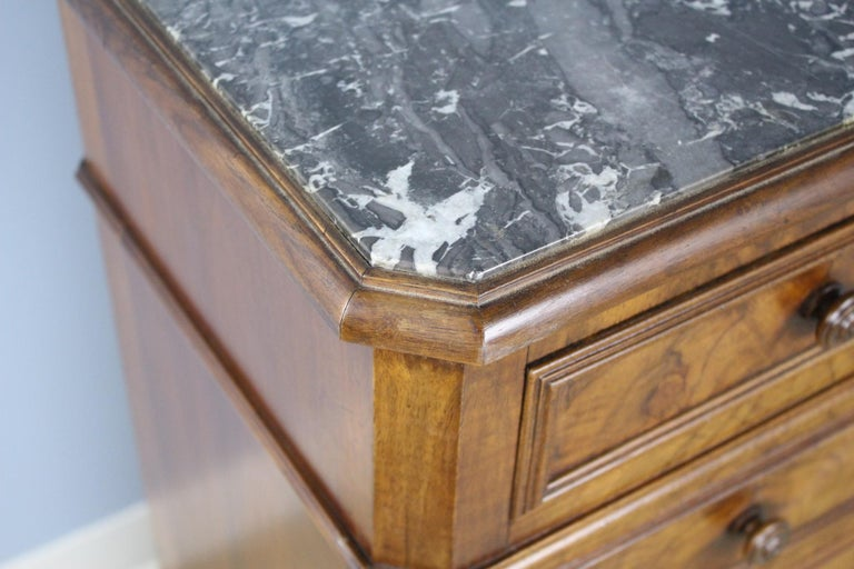 19th Century Antique Burr Walnut Nightstand with Gray Marble Top For Sale