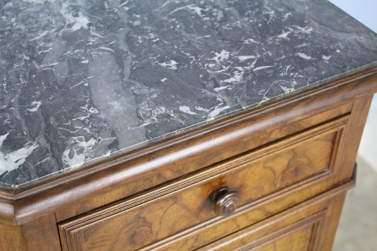 Antique Burr Walnut Nightstand with Gray Marble Top For Sale 1