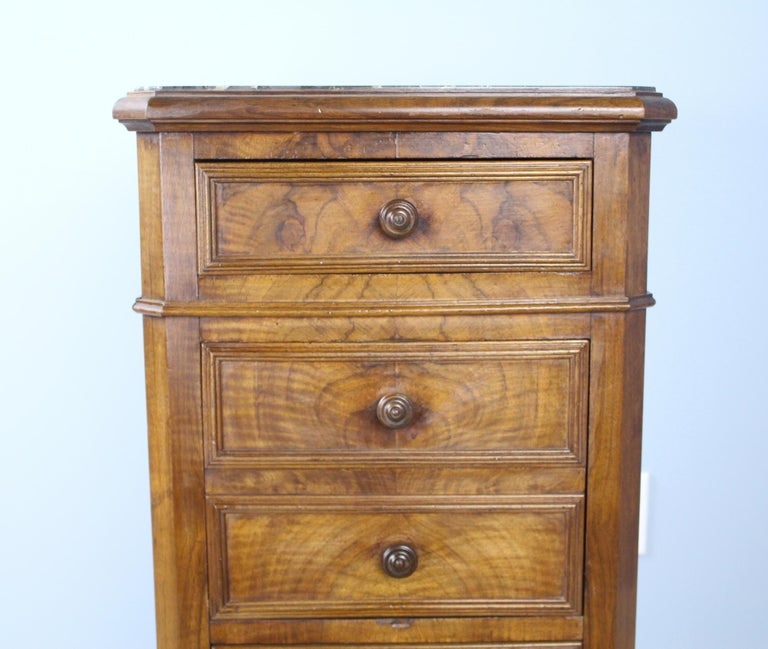Antique Burr Walnut Nightstand with Gray Marble Top For Sale 2