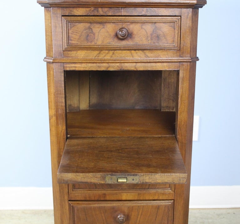 Antique Burr Walnut Nightstand with Gray Marble Top For Sale 3