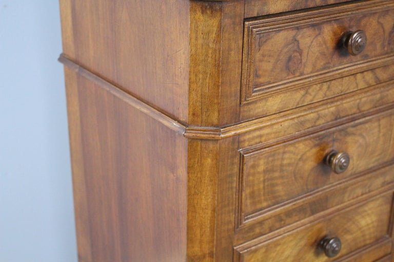 Antique Burr Walnut Nightstand with Gray Marble Top For Sale 4