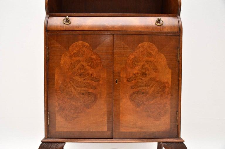 English Antique Burr Walnut Open Bookcase Cabinet For Sale