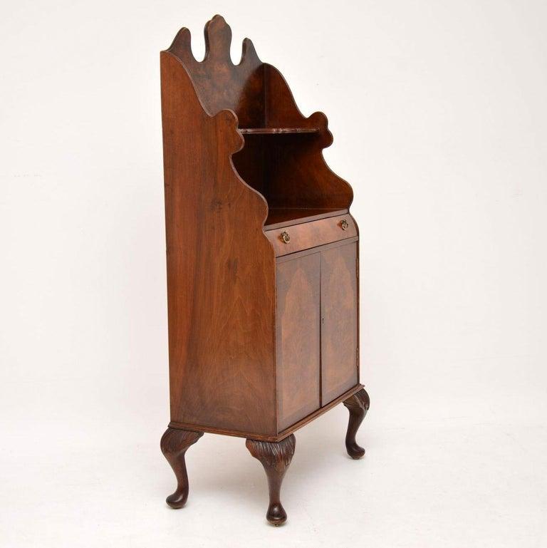 Antique Burr Walnut Open Bookcase Cabinet For Sale 1