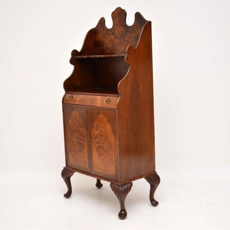 Antique Burr Walnut Open Bookcase Cabinet For Sale 2