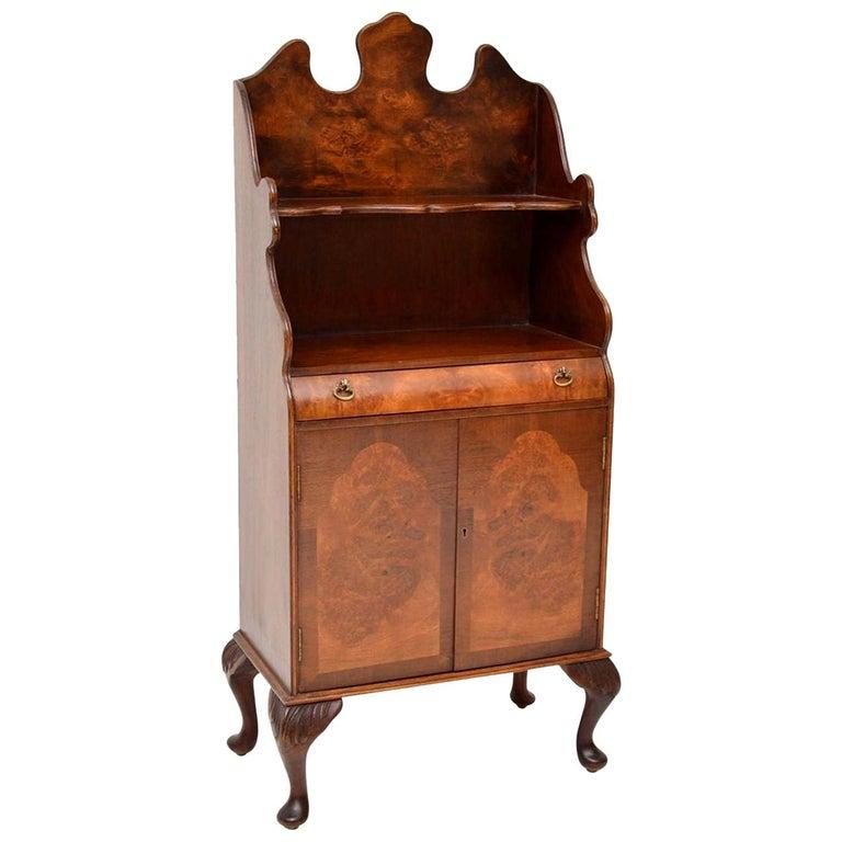 Antique Burr Walnut Open Bookcase Cabinet For Sale