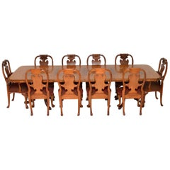 Antique Burr Walnut Queen Anne Dining Table and Eight Chairs