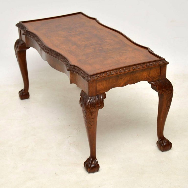Antique Burr Walnut Queen Anne Style Coffee Table At 1stdibs