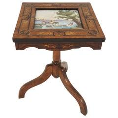 Antique Burr Walnut Tilt Top Inlaid Table, Porcelain Tile, Scotland 1870, B2288