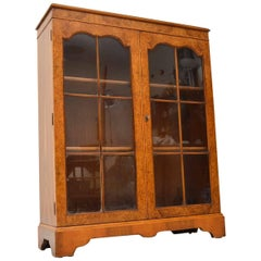 Antique Burr Walnut Two-Door Bookcase