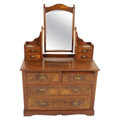 Antique Burr Walnut Vanity, Dressing Chest, Mirror, Scotland 1890, B2132