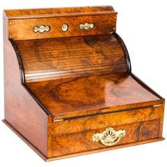 Antique Burr Walnut Writing and Stationery Box, 19th Century
