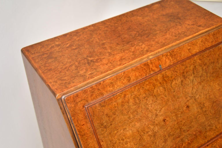 Antique Burr Walnut Writing Bureau For Sale 4