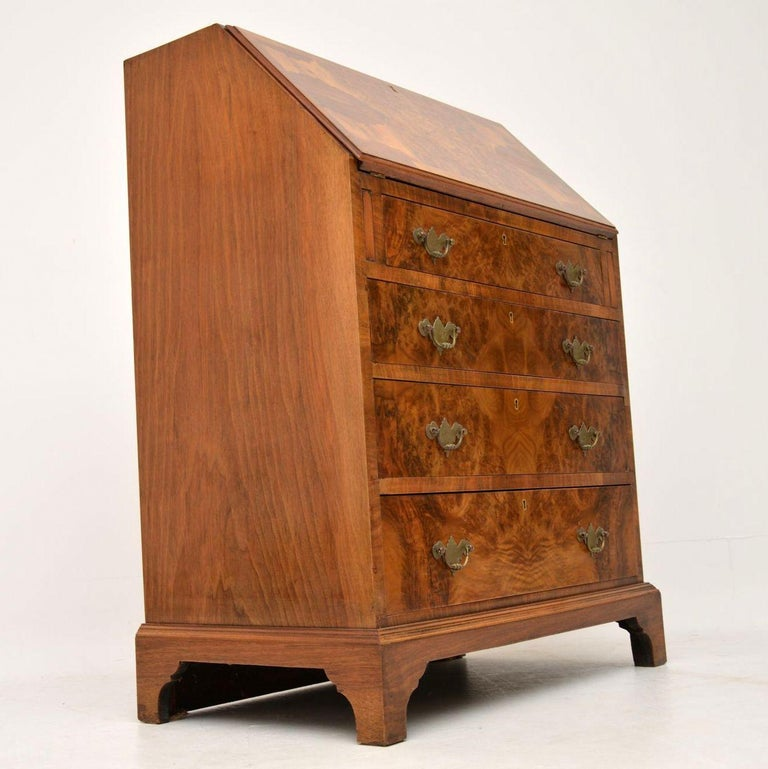 Antique Burr Walnut Writing Bureau For Sale 5