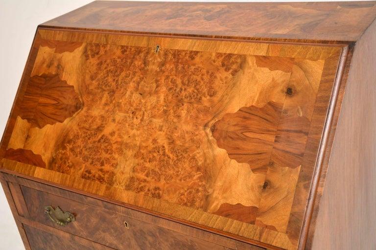 Edwardian Antique Burr Walnut Writing Bureau For Sale