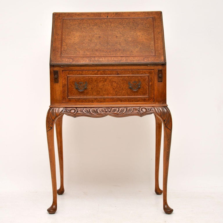 Queen Anne Antique Burr Walnut Writing Bureau For Sale