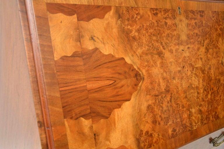 English Antique Burr Walnut Writing Bureau For Sale