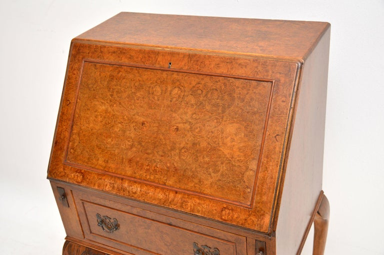 English Antique Burr Walnut Writing Bureau For Sale