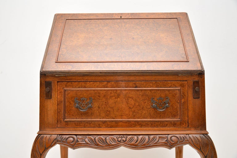 Antique Burr Walnut Writing Bureau In Good Condition For Sale In London, GB