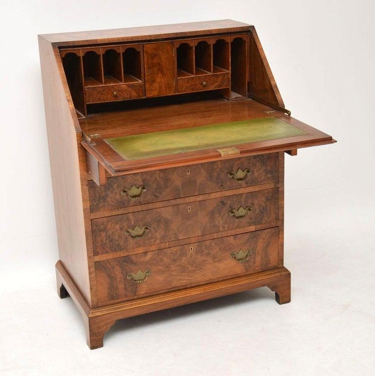 Early 20th Century Antique Burr Walnut Writing Bureau For Sale