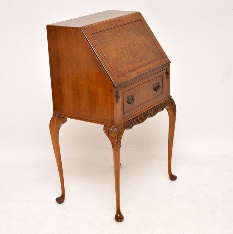 Antique Burr Walnut Writing Bureau For Sale 2